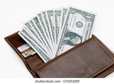 American dollars in wallet
