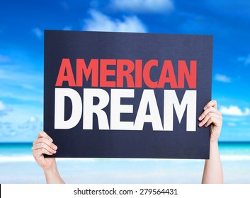 American Dream card with beach background