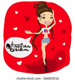 American Dream Illustration with a Pretty Woman Wearing Shorts, Sexy Top with a Flag