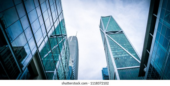 American dream Modern financial business district looking straight up at rising towers and blue modern skyscrapers in downtown San Francisco , California , USA an urban Bay Area wealth and property