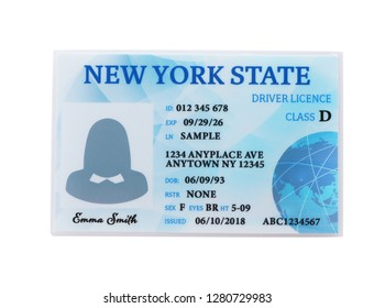 American driving license on white background, top view