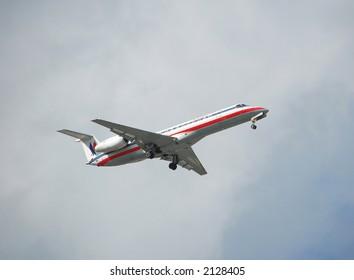 American Eagle Embraer ERJ-135 regional jet airplane made in Brazil