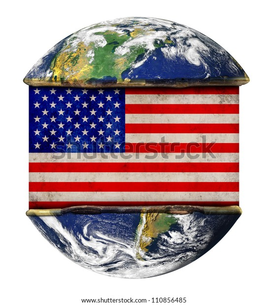 American earth globe flag. Elements of this image furnished by NASA.