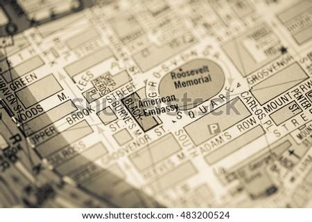 American Embassy London Uk Map Stock Photo Edit Now 483200524 - Us-embassy-london-map