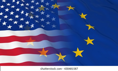 American and European Union Relations Concept - Merged Flags of the USA and the EU 3D Illustration