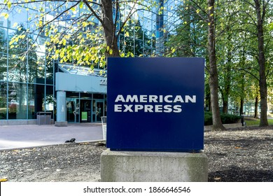 American Express Canada Corporate office sign is shown in North York, Toronto on October 16, 2020. The American Express Company is an American multinational financial services corporation.