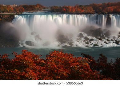American Falls Adorned by Colorful Autumn Trees, viewed from Canada