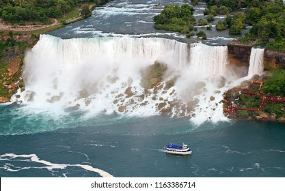 American Falls and Maid of the Mist boat on Niagara River, aerial view