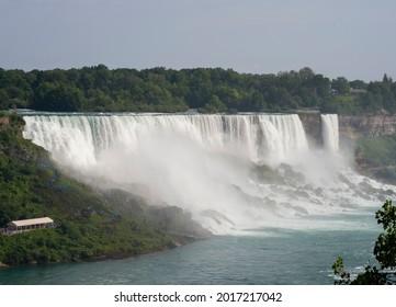 The American Falls are shown, seen from Niagara Falls, Ontario, Canada.
