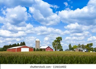 American Farm With Cloudy Sky