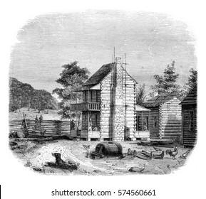 American farm in the state of Virginia, vintage engraved illustration. Magasin Pittoresque 1846.