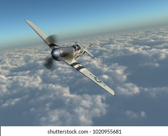 American fighter plane of World War II over the clouds Computer generated 3D illustration
