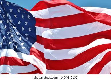 American flag against a blue sky at Sail Scheveningen, the Liberty Tall Ships Regatta 2019 in the Netherlands
