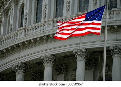 American Flag Against the Capitol Dome