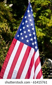 An American flag against a green background in a park