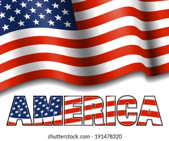 American Flag with AMERICA  - Raster Version