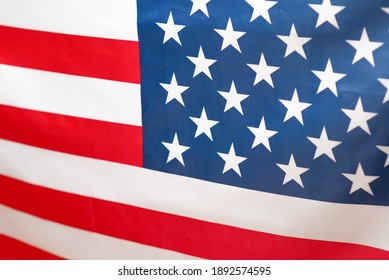 American flag as a background. Blurred background.