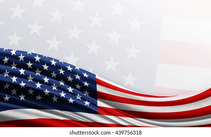 American flag background with empty space for text