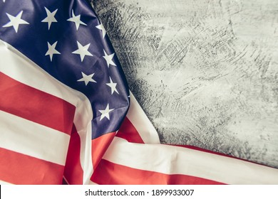 American Flag Background on wooden table