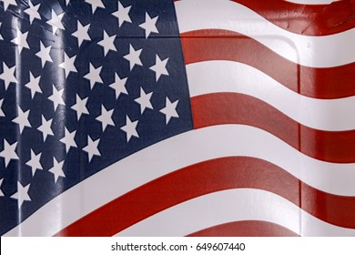 American flag background from paper plate