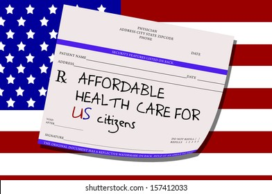 American Flag Background Prescription with Affordable Health Care for US Citizens