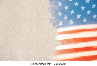 American flag background. Stroke style