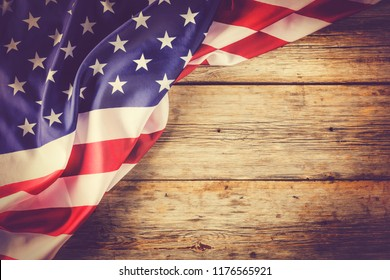 American flag background. Flag of USA with blank space for text, top view