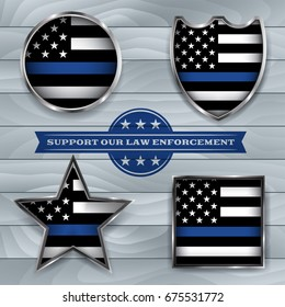 American flag badges and emblems symbolic of support for law enforcement.