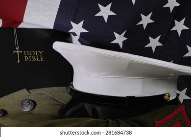 American flag with Bible and Military Uniform - Shutterstock ID 281684738