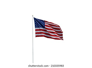 American Flag blowing in the breeze on  White isolated Background