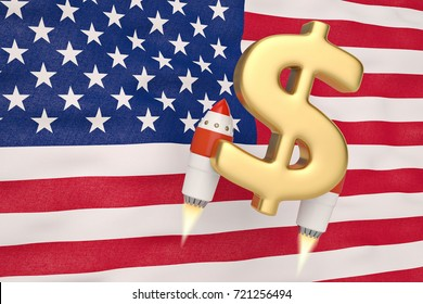 American flag blowing in the wind and dollar symbol rocket.3D illustration.