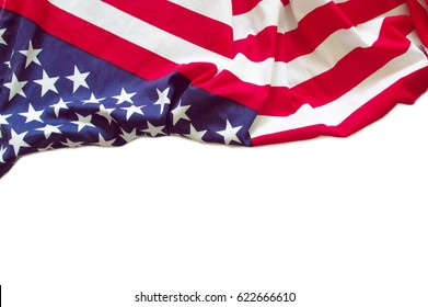 American flag border isolated on white background