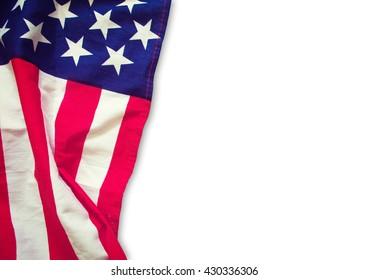 American flag border isolated white background