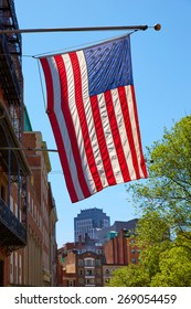 American flag in Boston downtown Massachusetts USA