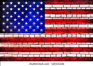 American Flag brick wall background