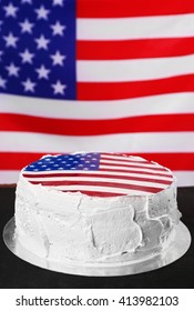American flag cake, on black wooden background