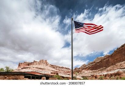 American flag in Capitol Reef National park