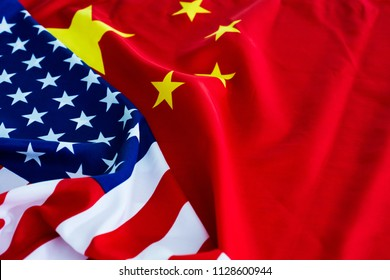 American flag and China flag together.