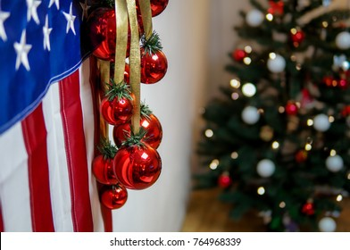 American flag and christmas tree background