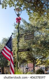 American flag in City Market in Savannah, Georgia