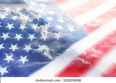 American Flag With Clouds