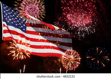 The American Flag comes to life with this powerful fireworks display.  Great for the 4th of July