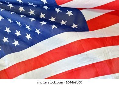 American flag crumpled and creased