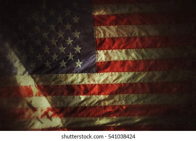 American flag - designed blur grunge vintage filtered usage for background