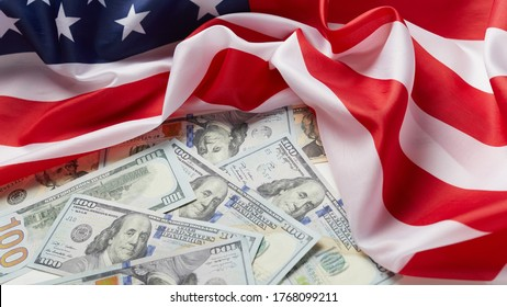 american flag and dollar cash money. Dollar banknote and USA background. Paycheck Protection Program, PPP concept