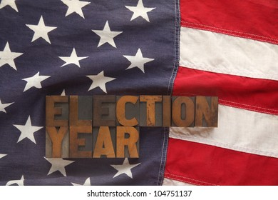 American flag with election year words