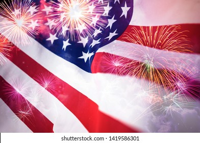 American flag with fireworks background,Memorial Day or 4th of July.