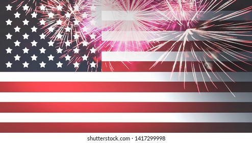 American flag and fireworks independence day celebration background