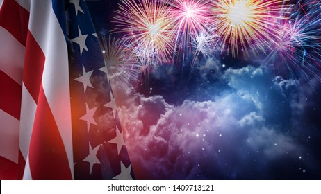 American flag and fireworks with night sky background.