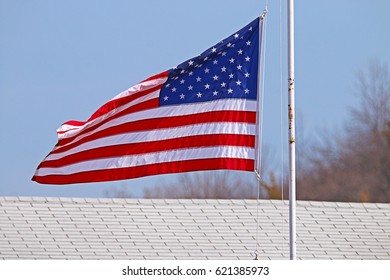 An American Flag Flapping in the Wind